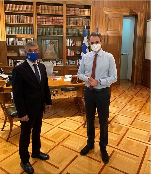 Συνάντηση του Κωστα Αγοραστου με τον Πρωθυπουργό Κυριακο Μητσοτακη  για αγροτικές αποζημιώσεις, φράγματα, σεισμό, Ιανό  και Αχελώο.